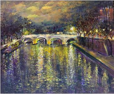 """Paris. Gold of night lights"" (acrylic on canvas) by Natalia Khlivnenko"