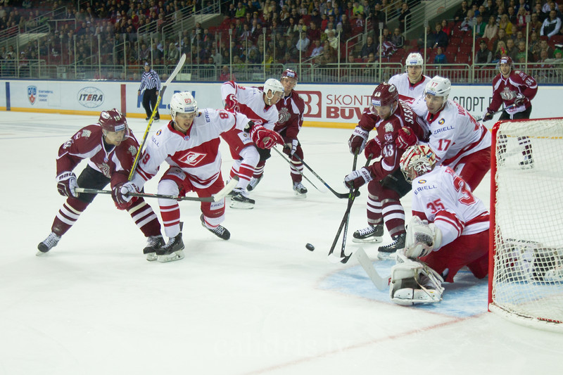 Kirill Ablayev (89) Spartak blocks forward Mikelis Redlihs (19) in front of the goal while Tim Sestito (43) tries to score the goal