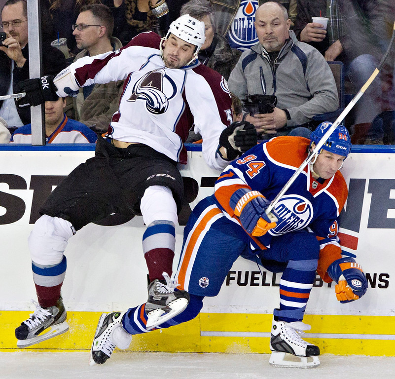. Colorado Avalanche\'s Patrick Bordeleau (58) misses the check on Edmonton Oilers\' Ryan Smyth during the second period of their NHL hockey game, Monday, Jan. 28, 2013, in Edmonton, Alberta. (AP Photo/The Canadian Press, Jason Franson)