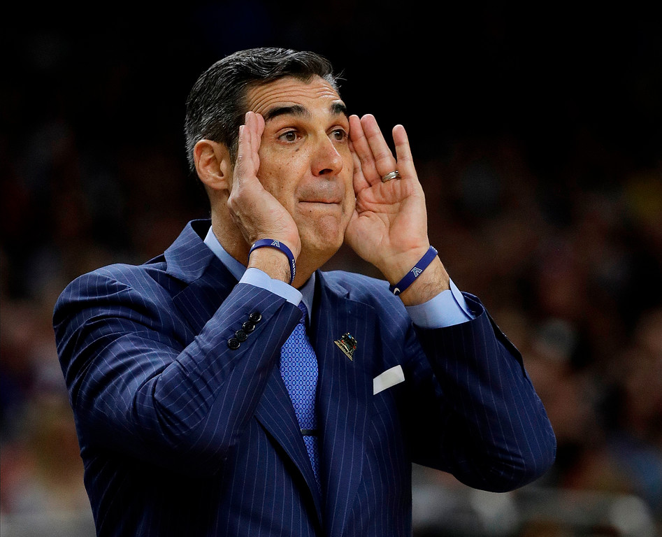 . Villanova head coach Jay Wright directs his team during the first half in the championship game of the Final Four NCAA college basketball tournament against Michigan, Monday, April 2, 2018, in San Antonio. (AP Photo/David J. Phillip)