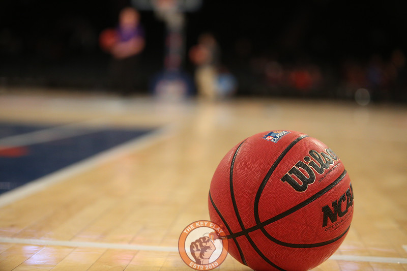 A ball on the court during play between Virginia Tech and Washington in Madison Square Garden, Nov. 17, 2017. Virginia Tech won the game 103-79.