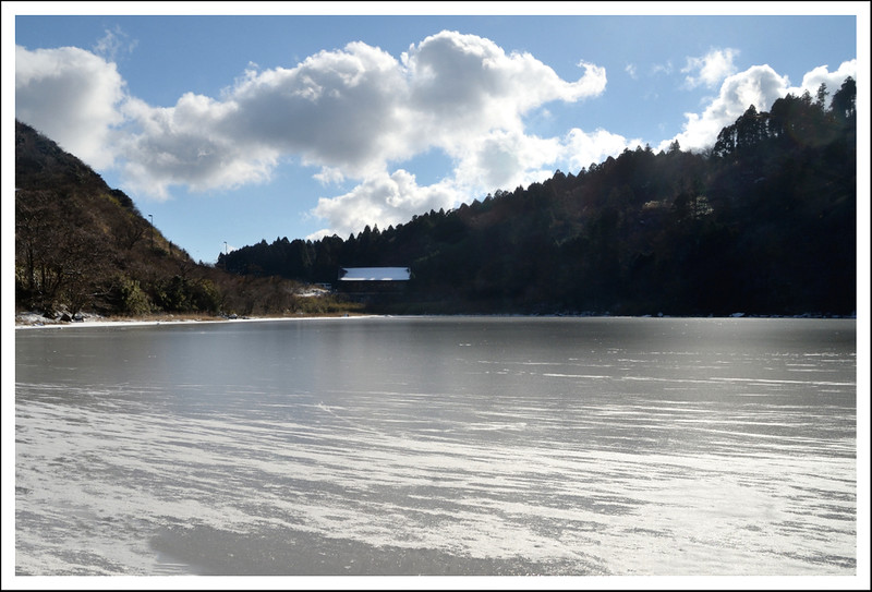 And pictures of the frozen pond.  This pond is more exposed than Otama pond, so had a thicker layer of ice.
