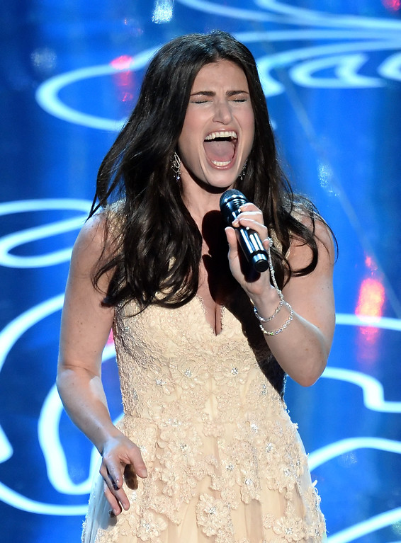 . Actress/singer Idina Menzel performs onstage during the Oscars at the Dolby Theatre on March 2, 2014 in Hollywood, California.  (Photo by Kevin Winter/Getty Images)