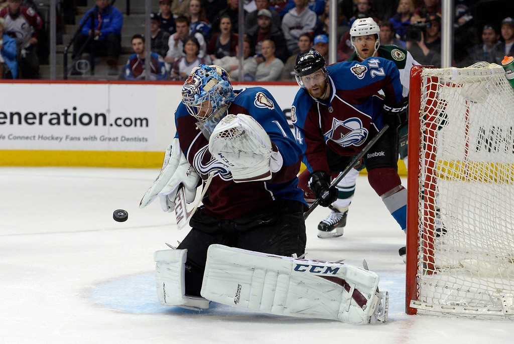 . Semyon Varlamov (1) of the Colorado Avalanche makes a save during the third period of action. The Colorado Avalanche hosted the Minnesota Wild in the first round of the Stanley Cup Playoffs at the Pepsi Center in Denver, Colorado on Saturday, April 19, 2014. (Photo by John Leyba/The Denver Post)