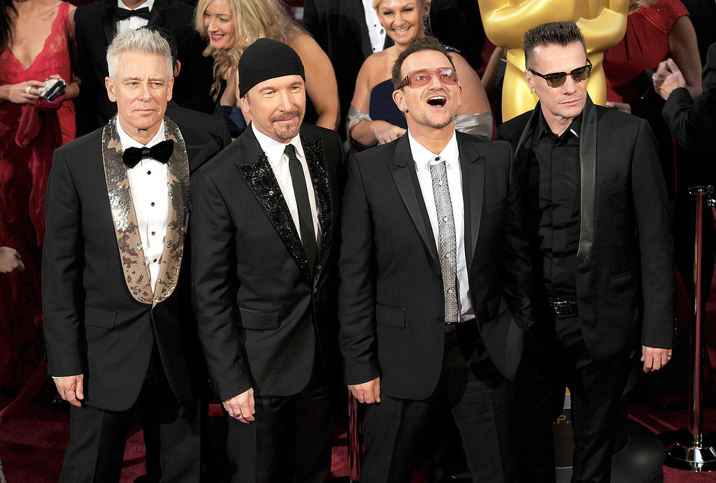 . U2 attend the 86th Academy Awards at the Dolby Theatre in Hollywood, California on Sunday March 2, 2014 (Photo by John McCoy / Los Angeles Daily News)