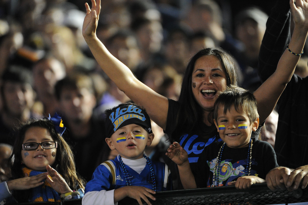 . UCLA Bruins fans during the first half of their college football game against the Washington Huskies in the Rose Bowl in Pasadena, Calif., on Friday, Nov. 15, 2013.  UCLA won 41-31.   (Keith Birmingham Pasadena Star-News)