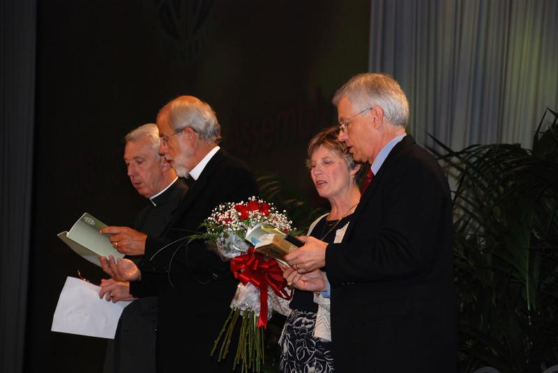 David and Barbara Swartling following his election as ELCA secretary, join Bishop Hanson and Rev. Lowell G. Almen, ELCA secretary for prayer.