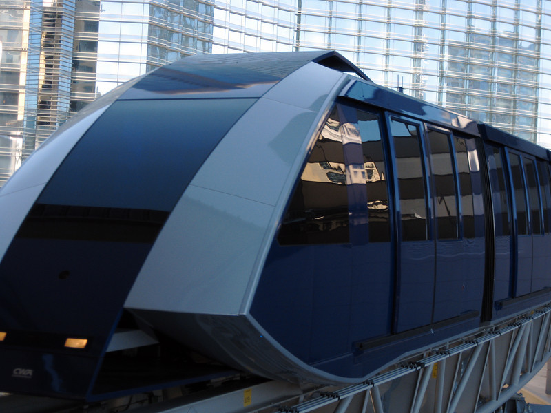 The free tram connecting the Bellagio, CityCenter, and Monte Carlo.