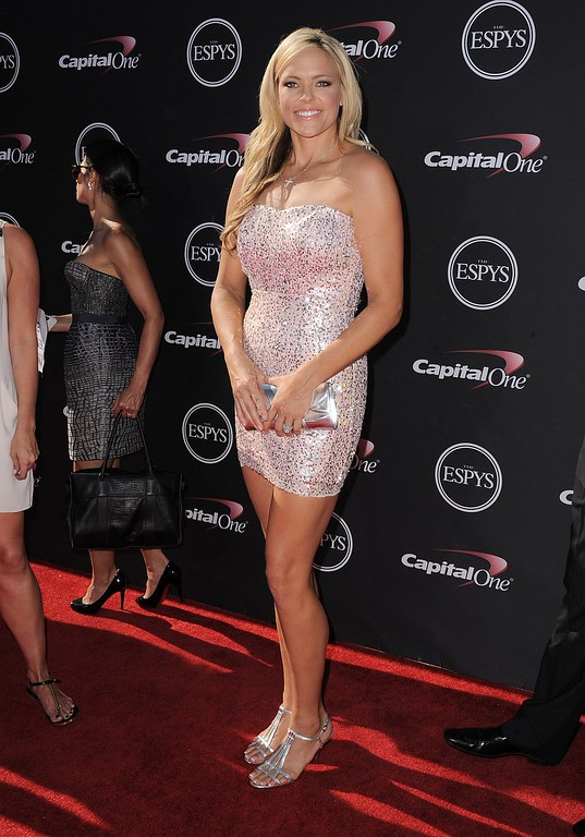 . Softball player Jennie Finch arrives at the ESPY Awards on Wednesday, July 17, 2013, at Nokia Theater in Los Angeles. (Photo by Jordan Strauss/Invision/AP)