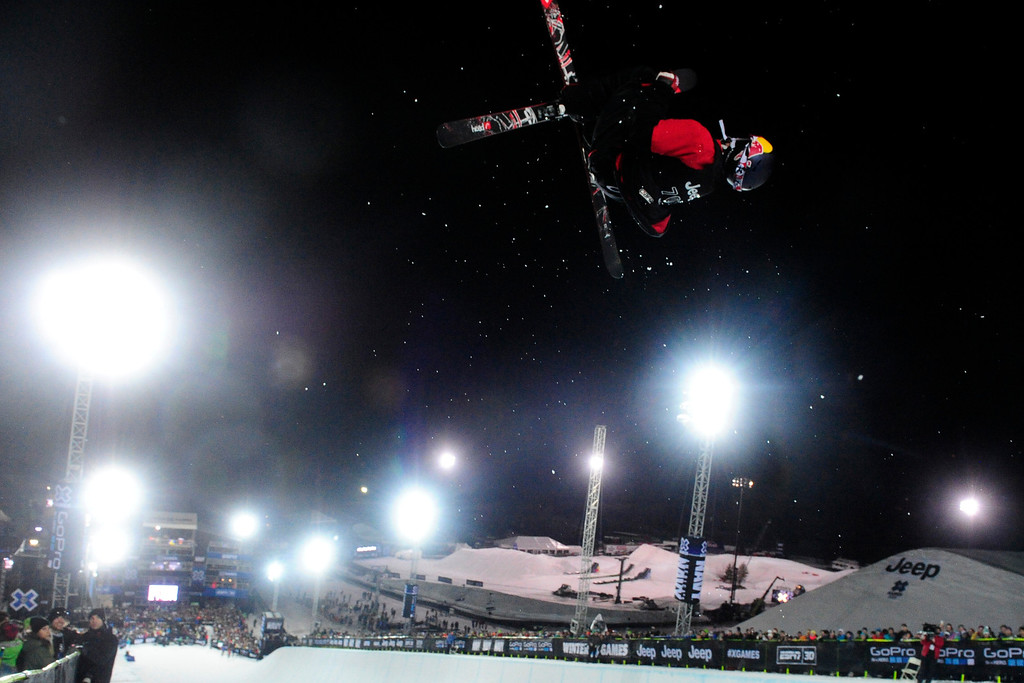 . ASPEN, CO. - JANUARY 25:  Simon Dumont get\'s some air during practice at men\'s ski SuperPipe finals at the 2013 Aspen X Games on Buttermilk Mountain on January 25, 2013. Dumont placed third in the men\'s ski SuperPipe. (Photo By Mahala Gaylord / The Denver Post)