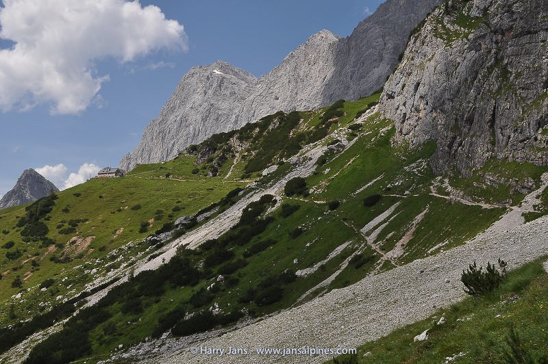 view toward Dachstein Sudwand Hutte, 1910m