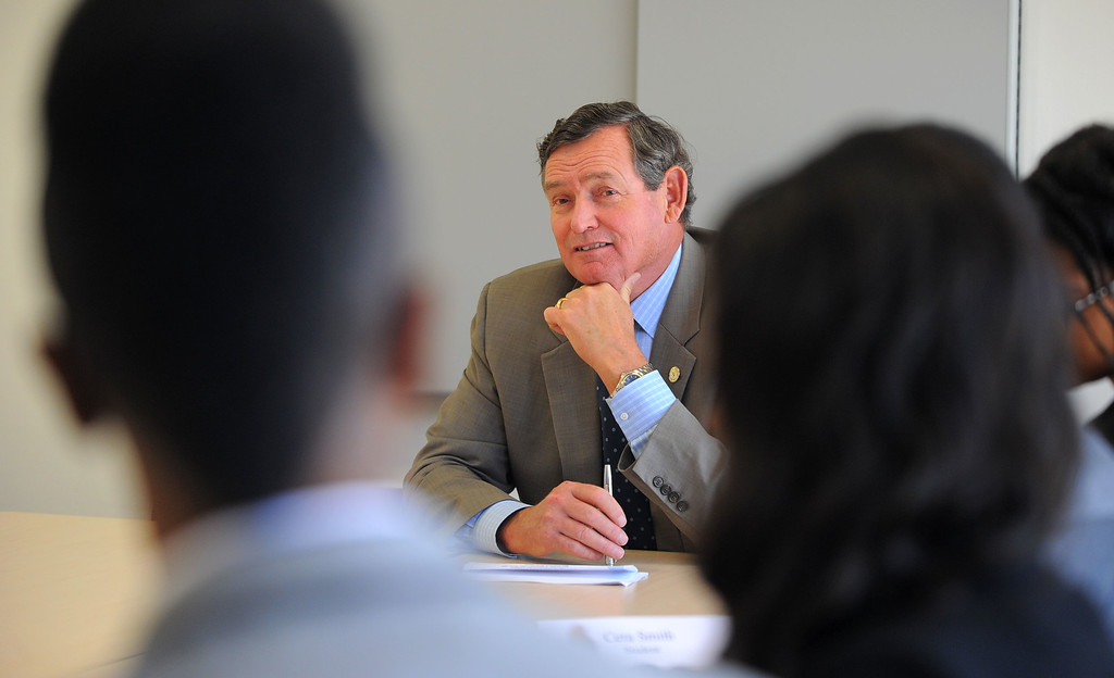 . CSU Chancellor Timothy P. White meets with a group of students at the student union as he tours Cal State Long Beach on Monday, October 14, 2013. The new chancellor hopes to tour all of the CSU schools. (Photo by Scott Varley, Daily Breeze)