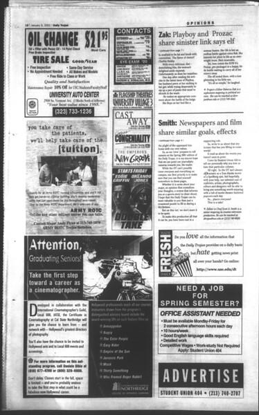 Daily Trojan, Vol. 142, No. 1, January 09, 2001