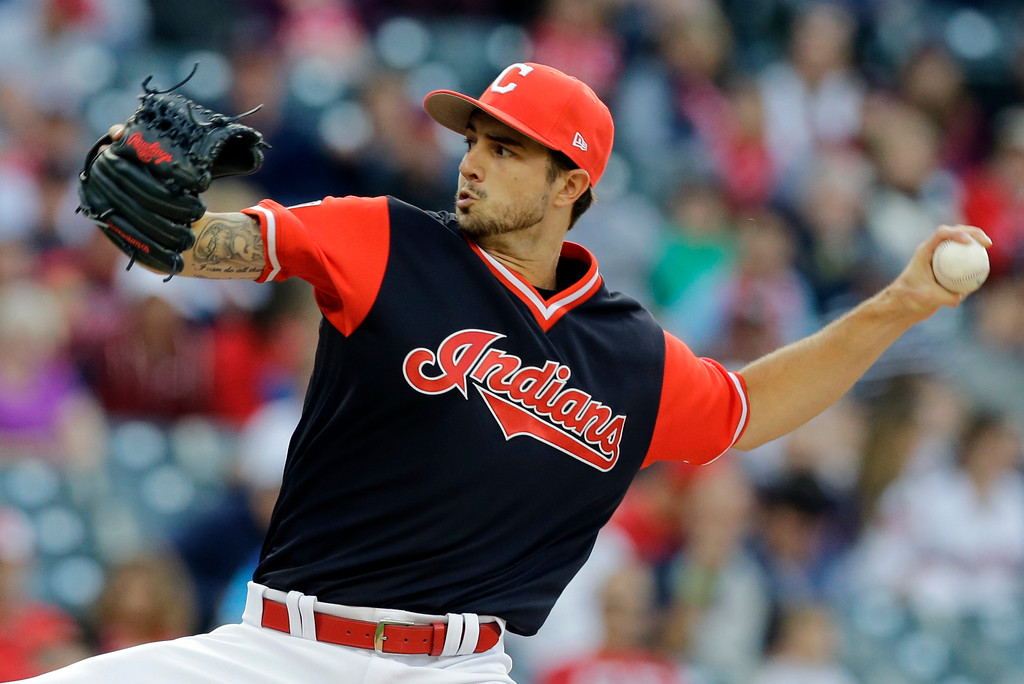 . Cleveland Indians starting pitcher Ryan Merritt delivers in the first inning of a baseball game against the Kansas City Royals, Friday, Aug. 25, 2017, in Cleveland. (AP Photo/Tony Dejak)