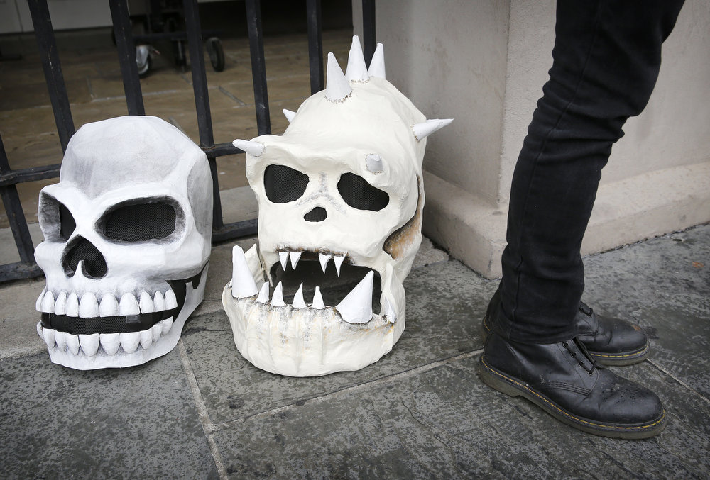 Description of . Skeleton heads rest on the ground in Jackson Square on Mardi Gras Day in French Quarter February 12, 2013 in New Orleans, Louisiana. Fat Tuesday, the traditional celebration on the day before Ash Wednesday and the begining of Lent, is marked in New Orleans with parades and marches through many neighborhoods in the city. (Photo by Rusty Costanza/Getty Images)