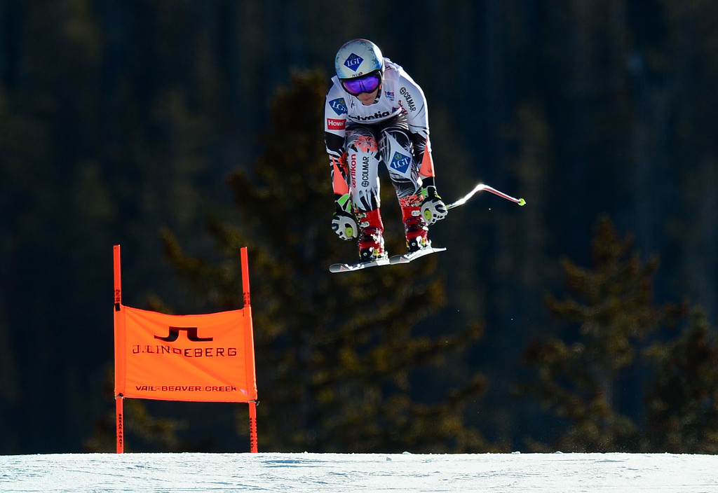 . Tina Weirather, (LIE), flies over the Red Tail jump, the last jump, in the Women\'s downhill race in the FIS Alpine World Ski Championships in Beaver, CO. February 6, 2015. (Photo By Helen H. Richardson/The Denver Post)
