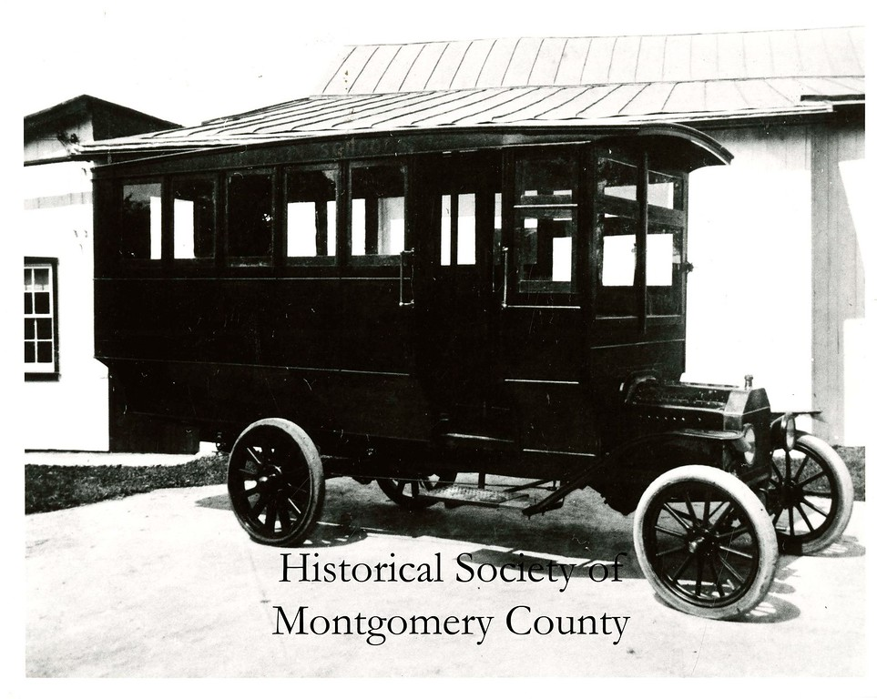. This photo from the Historical Society of Montgomery shows the first school bus in Whitpain in 1916.