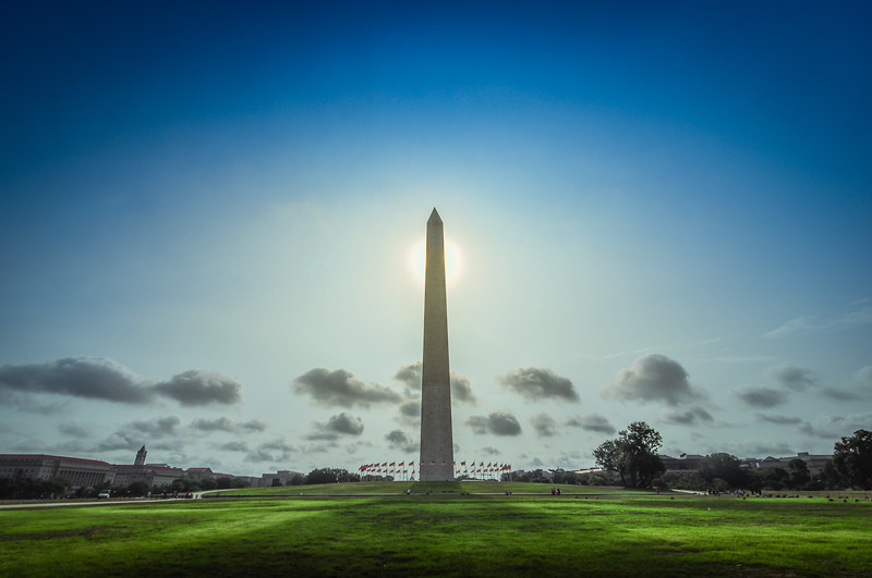 Sun is directly behind the monument