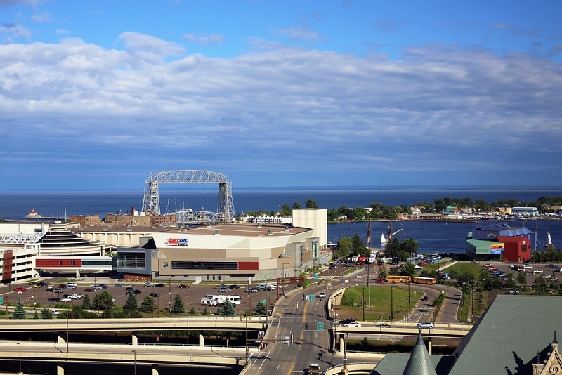 First view of Duluth from hotel.  Our ship is far off in the middle right.