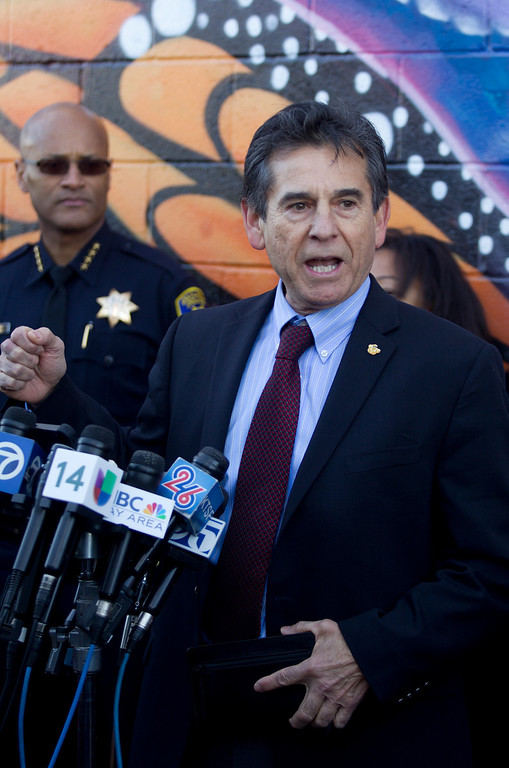 . Oakland City Council member Noel Gallo speaks at a press conference to discuss the recent spate of gun violence in the city and the police department\'s proposed response, Monday, Jan. 14, 2013 in Oakland, Calif. (D. Ross Cameron/Staff)