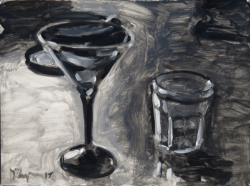 Martini glass (v2), acrylic on paper, 22 x 30 in, 2017