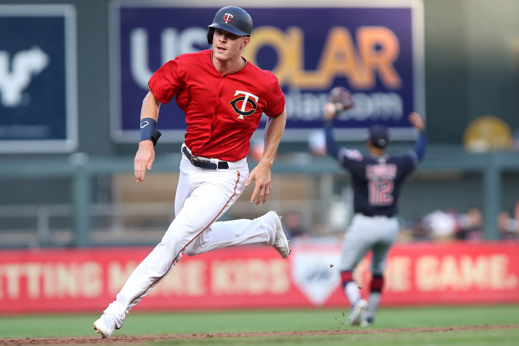 . Minnesota Twins\' Max Kepler runs toward second base after hitting against the Cleveland Indians in the first inning of a baseball game Monday, July 30, 2018 in Minneapolis. (AP Photo/Stacy Bengs)