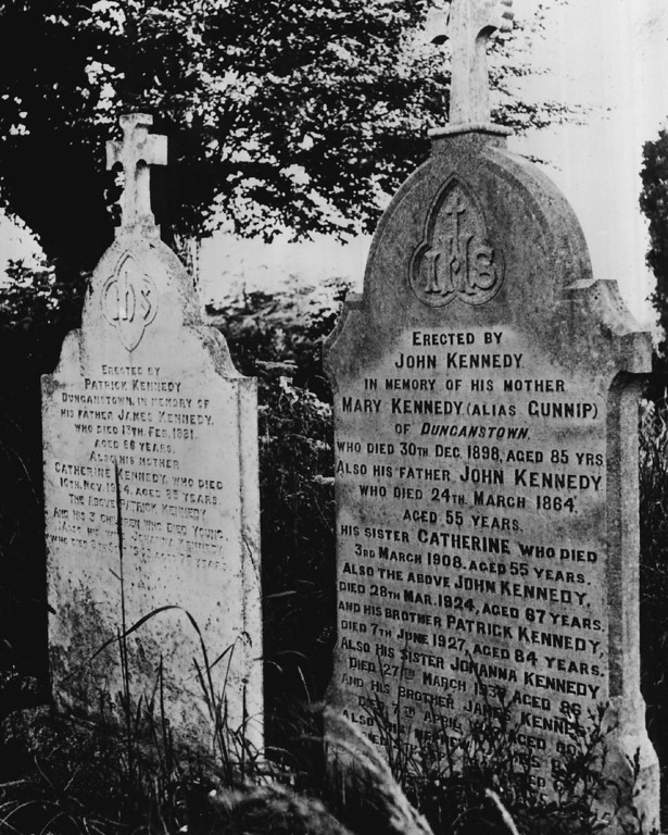 . Kennedy visited his family homestead in County Kerry, Ireland, in June 1963, where these family headstones stood. Denver Post file