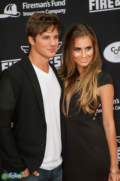 HOLLYWOOD, CA - JULY 15: Actor Matt Lanter (L) and his wife Angela Stacy attend the premiere of Disney's 'Planes: Fire & Rescue' at the El Capitan Theatre on Tuesday July 15, 2014 in Hollywood, California. (Photo by Tom Sorensen/Moovieboy Pictures)
