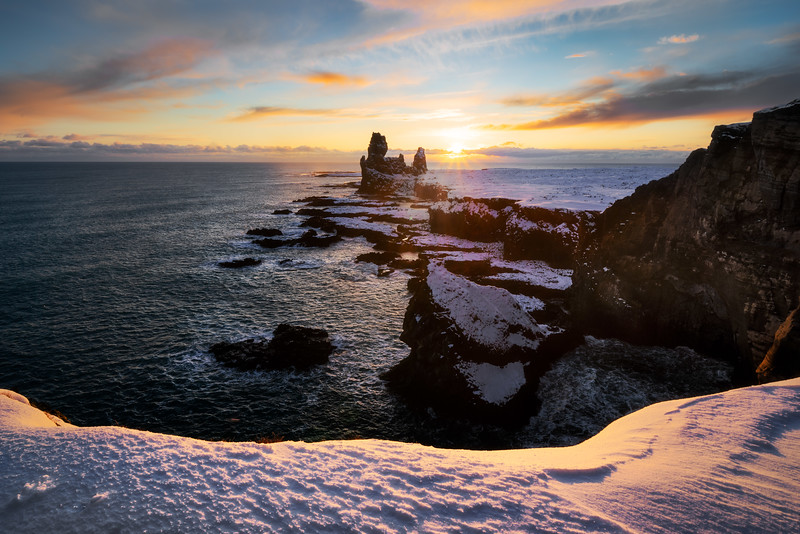 Londrangar Iceland Landscape Photography sunset golden hour winter snæfellsnes sea stack.jpg