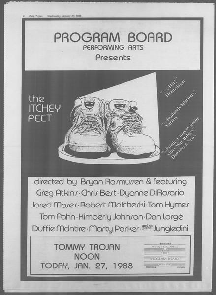 Daily Trojan, Vol. 106, No. 12, January 27, 1988