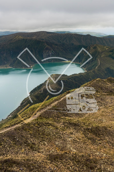 Aerial landscape of the amazing Lagoa do Fogo lake