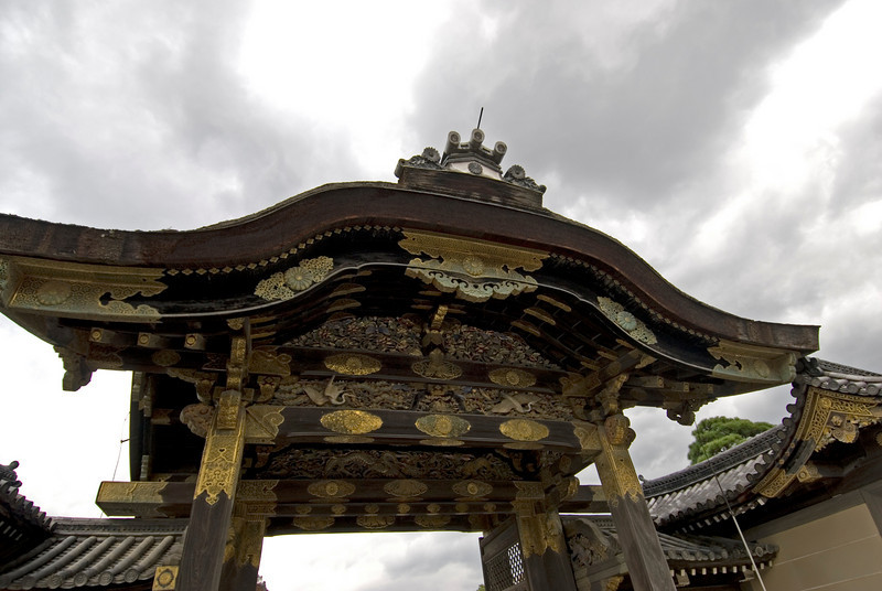 Details of art on gate to Nijo-jo Castle in Kyoto, Japan