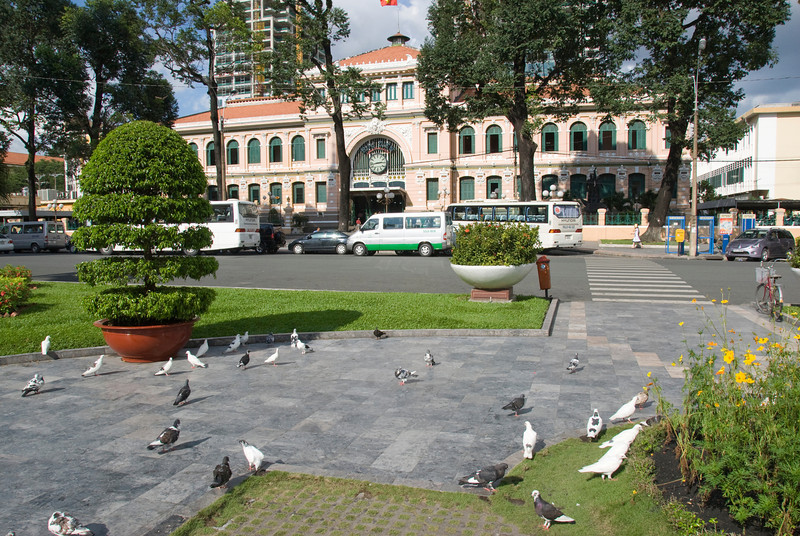 Pidgeons outside the Post Office - Saigon, Vietnam