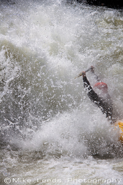"Brian taking a big hit and then a surf in ""Juicer"" rapid on the North Fork Payette. Flows approx.4,000-4,300cfs"