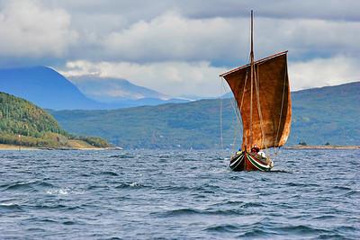Nordland boat sailing on Ofotfjorden on a sunny day