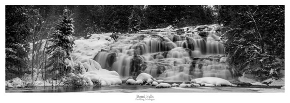Bond Falls - Winter B&W