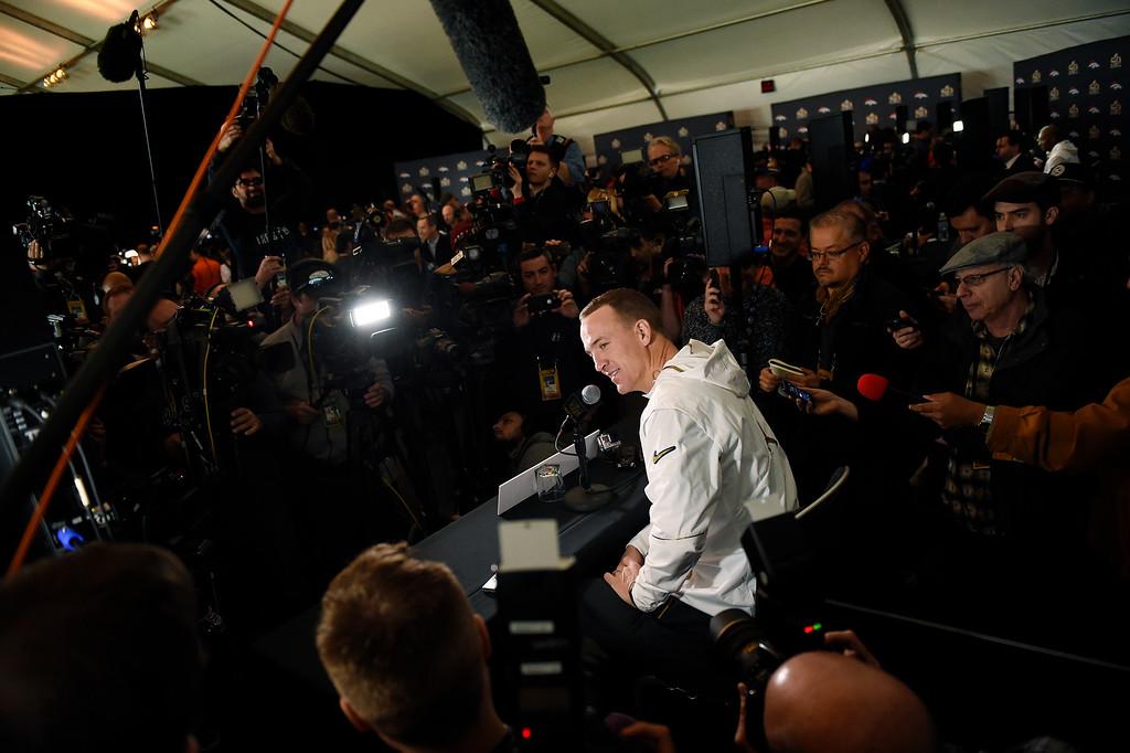 . SANTA CLARA, CA - FEBRUARY 02: Denver Broncos quarterback Peyton Manning (18) speaking at the team hotel in Santa Clara, CA. February 02, 2016 (Photo by Joe Amon/The Denver Post)