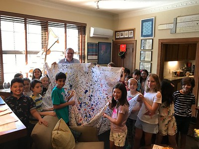 6.6.19 3rd Graders with Rodney (Jackson Pollack Painting Presentation)