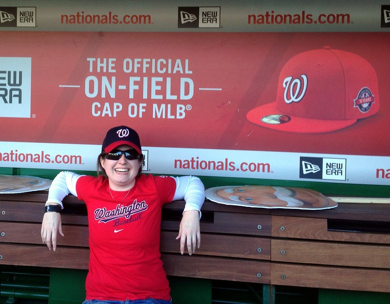 Jenni in the Nationals dugout