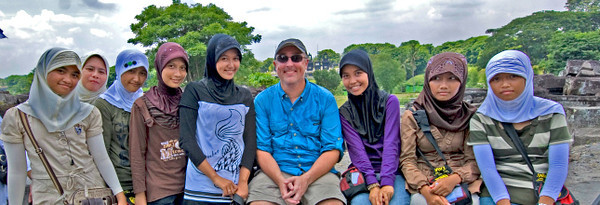 Landscape view of shot with local girls in Prambanan in Java, Indonesia