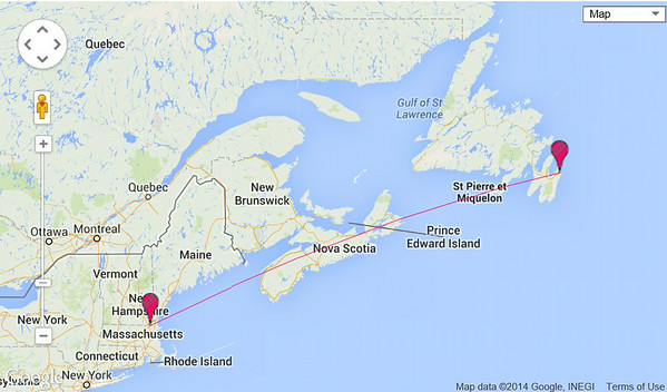 map showing distance from Boston to St. John's