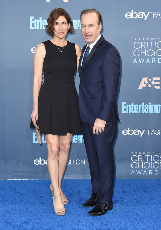 . Bob Odenkirk, right, and Naomi Odenkirk arrive at the 22nd annual Critics\' Choice Awards at the Barker Hangar on Sunday, Dec. 11, 2016, in Santa Monica, Calif. (Photo by Jordan Strauss/Invision/AP)