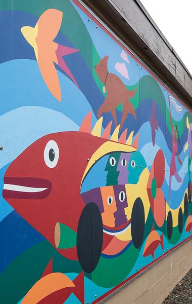 Colorful street mural in Auburn WA.