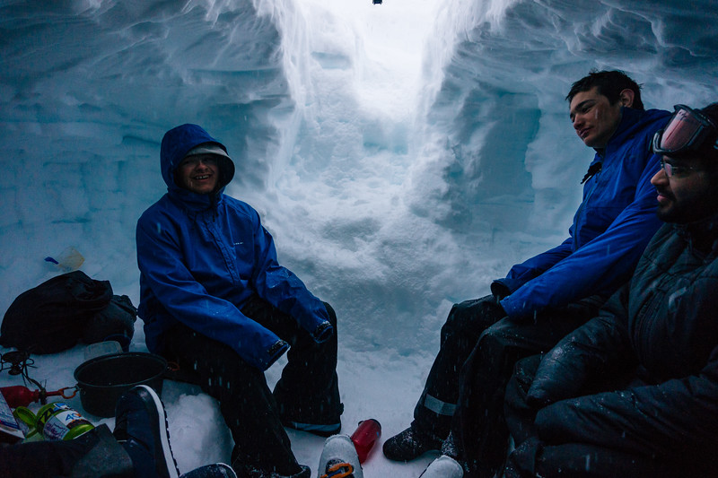 Me and the boys hanging out in the snowcave to avoid wind.