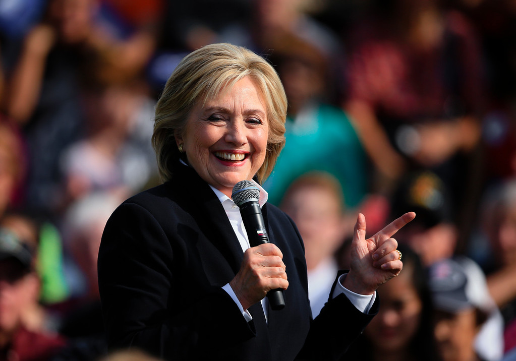 . Democratic presidential candidate Hillary Rodham Clinton speaks Wednesday, Oct. 7, 2015, during a campaign stop at the Westfair Amphitheater in Council Bluffs, Iowa. (AP Photo/Nati Harnik)