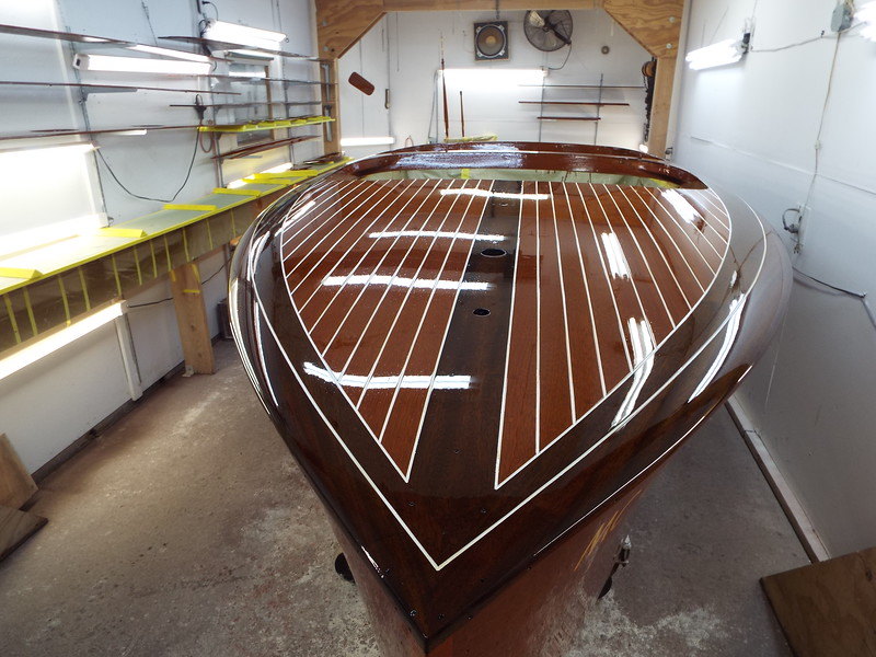 Front deck view with the third group of five coats of varnish applied.