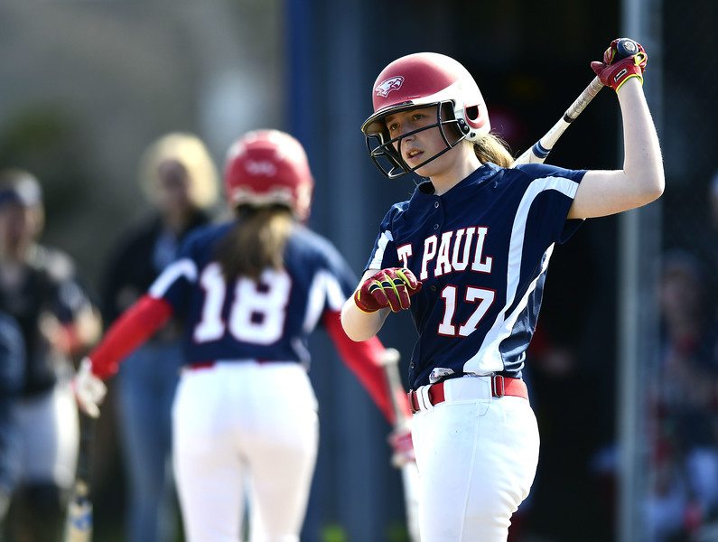 4/17/2019 Mike Orazzi   Staff St. Paul softball's Gillian Smith (17) during Wednesday's game in Bristol.