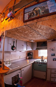 Kitchen of Kevin and Tanya Ouellette's ice shack.