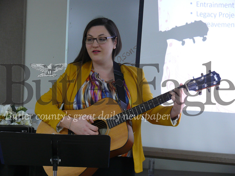 Photos by J.W. Johnson Jr.    Kathryn Cotter plays a song Monday for the Opus I Music Society.