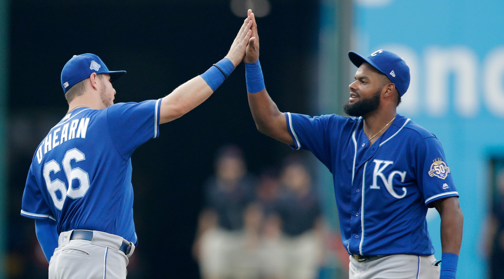 . Kansas City Royals\' Jorge Bonifacio, right, and Ryan O\'Hearn celebrate after they defeated the Cleveland Indians in a baseball game, Monday, Sept. 3, 2018, in Cleveland. (AP Photo/Tony Dejak)